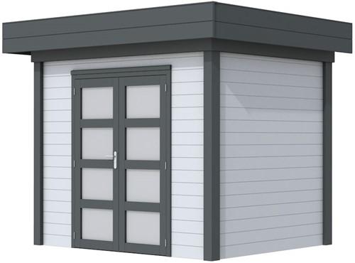 Blokhut Koekoek, afm. 303 x 203 cm, plat dak, houtdikte 28 mm. - basis en deur antraciet, wand grijs gespoten