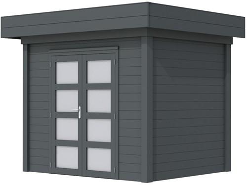 Blokhut Koekoek, afm. 303 x 203 cm, plat dak, houtdikte 28 mm. - volledig antraciet gespoten