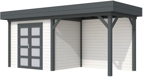 Blokhut Koekoek met luifel 300, afm. 596 x 203 cm, plat dak, houtdikte 28 mm. - basis en deur antraciet, wand wit gespoten
