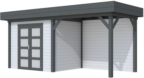 Blokhut Koekoek met luifel 300, afm. 596 x 203 cm, plat dak, houtdikte 28 mm. - basis en deur antraciet, wand grijs gespoten