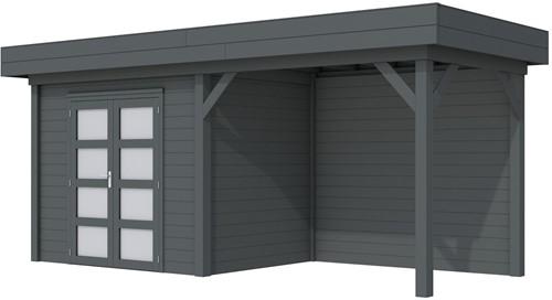 Blokhut Koekoek met luifel 400, afm. 689 x 203 cm, plat dak, houtdikte 28 mm. - volledig antraciet gespoten