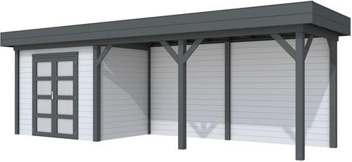 Blokhut Koekoek met luifel 500, afm. 787 x 203 cm, plat dak, houtdikte 28 mm. - basis en deur antraciet, wand grijs gespoten