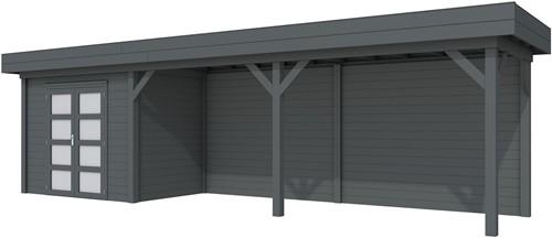 Blokhut Koekoek met luifel 500, afm. 787 x 203 cm, plat dak, houtdikte 28 mm. - volledig antraciet gespoten