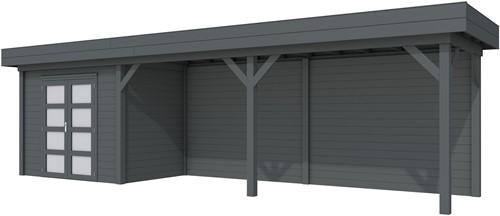 Blokhut Koekoek met luifel 500, afm. 800 x 200 cm, plat dak, houtdikte 28 mm. - volledig antraciet gespoten