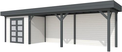 Blokhut Koekoek met luifel 600, afm. 887 x 203 cm, plat dak, houtdikte 28 mm. - basis en deur antraciet, wand wit gespoten