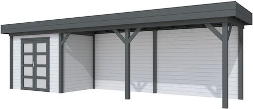 Blokhut Koekoek met luifel 600, afm. 887 x 203 cm, plat dak, houtdikte 28 mm. - basis en deur antraciet, wand grijs gespoten