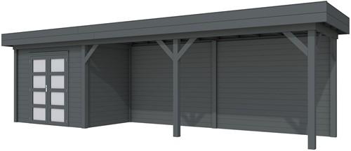 Blokhut Koekoek met luifel 600, afm. 887 x 203 cm, plat dak, houtdikte 28 mm. - volledig antraciet gespoten