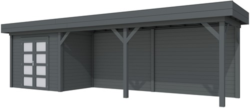 Blokhut Koekoek met luifel 600, afm. 900 x 200 cm, plat dak, houtdikte 28 mm. - volledig antraciet gespoten