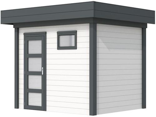 Blokhut Korhoen, afm. 303 x 203 cm, plat dak, houtdikte 28 mm. - basis en deur antraciet, wand wit gespoten
