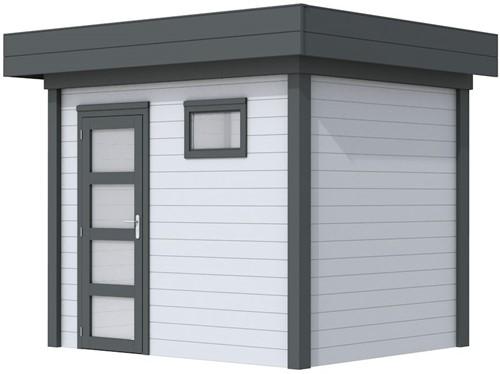 Blokhut Korhoen, afm. 300 x 200 cm, plat dak, houtdikte 28 mm. - basis en deur antraciet, wand grijs gespoten