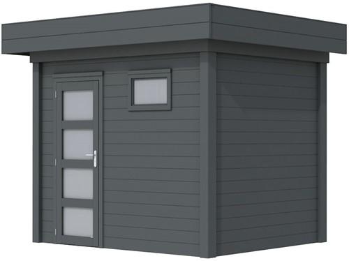 Blokhut Korhoen, afm. 303 x 203 cm, plat dak, houtdikte 28 mm. - volledig antraciet gespoten