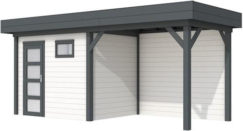 Blokhut Korhoen met luifel van 300 cm, afm. 600 x 200 cm, plat dak, houtdikte 28 mm. - basis en deur antraciet, wand wit gespoten