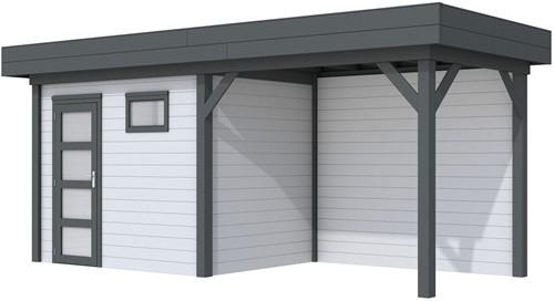 Blokhut Korhoen met luifel van 400 cm, afm. 700 x 200 cm, plat dak, houtdikte 28 mm. - basis en deur antraciet, wand grijs gespoten