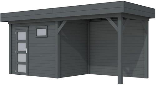 Blokhut Korhoen met luifel van 300 cm, afm. 596 x 203 cm, plat dak, houtdikte 28 mm. - volledig antraciet gespoten