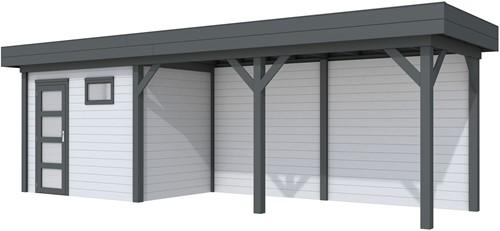 Blokhut Korhoen met luifel van 500 cm, afm. 787 x 203 cm, plat dak, houtdikte 28 mm. - basis en deur antraciet, wand grijs gespoten