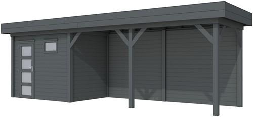 Blokhut Korhoen met luifel van 500 cm, afm. 787 x 203 cm, plat dak, houtdikte 28 mm. - volledig antraciet gespoten