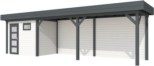 Blokhut Korhoen met luifel van 600 cm, afm. 900 x 200 cm, plat dak, houtdikte 28 mm. - basis en deur antraciet, wand wit gespoten