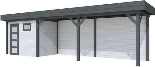 Blokhut Korhoen met luifel van 600 cm, afm. 900 x 200 cm, plat dak, houtdikte 28 mm. - basis en deur antraciet, wand grijs gespoten
