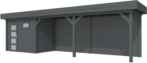 Blokhut Korhoen met luifel van 600 cm, afm. 887 x 203 cm, plat dak, houtdikte 28 mm. - volledig antraciet gespoten
