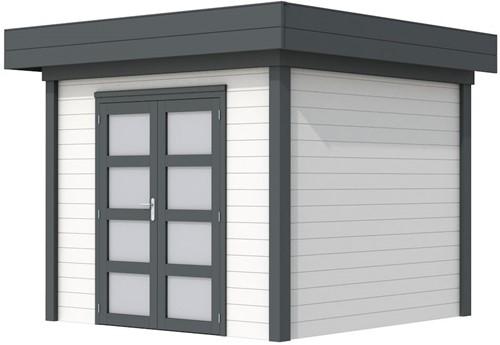 Blokhut Bonte Specht, afm. 303 x 253 cm, plat dak, houtdikte 28 mm. - basis en deur antraciet, wand wit gespoten
