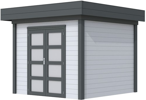 Blokhut Bonte Specht, afm. 303 x 253 cm, plat dak, houtdikte 28 mm. - basis en deur antraciet, wand grijs gespoten