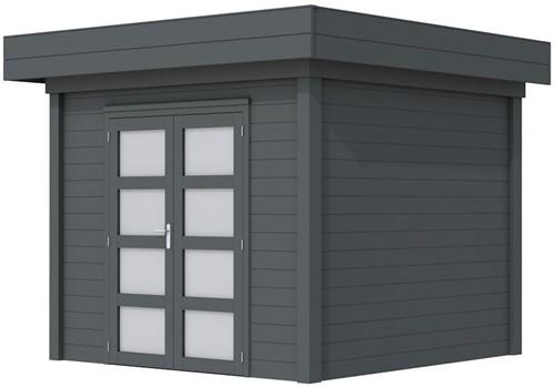 Blokhut Bonte Specht, afm. 303 x 253 cm, plat dak, houtdikte 28 mm. - volledig antraciet gespoten