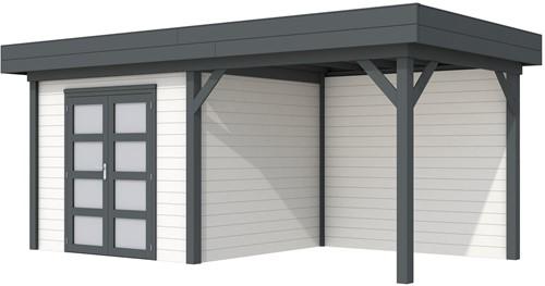 Blokhut Bonte Specht met luifel 300, afm. 600 x 250 cm, plat dak, houtdikte 28 mm. - basis en deur antraciet, wand wit gespoten