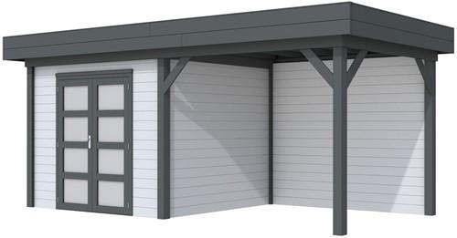 Blokhut Bonte Specht met luifel 400, afm. 689 x 253 cm, plat dak, houtdikte 28 mm. - basis en deur antraciet, wand grijs gespoten