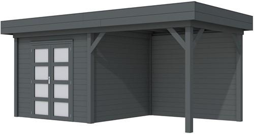 Blokhut Bonte Specht met luifel 300, afm. 596 x 253 cm, plat dak, houtdikte 28 mm. - volledig antraciet gespoten