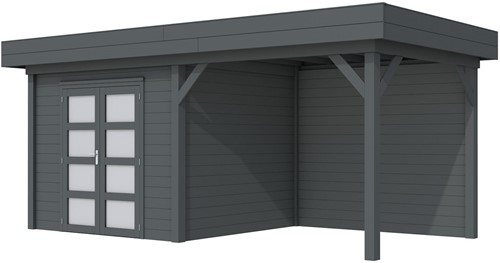 Blokhut Bonte Specht met luifel 300, afm. 600 x 250 cm, plat dak, houtdikte 28 mm. - volledig antraciet gespoten