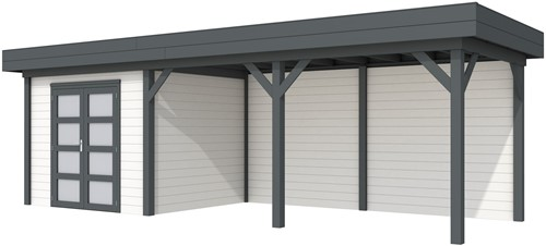 Blokhut Bonte Specht met luifel 500, afm. 800 x 250 cm, plat dak, houtdikte 28 mm - basis en deur antraciet, wand wit gespoten