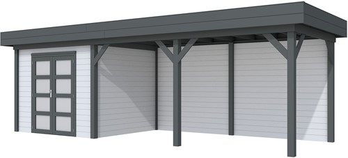 Blokhut Bonte Specht met luifel 500, afm. 787 x 253 cm, plat dak, houtdikte 28 mm - basis en deur antraciet, wand grijs gespoten
