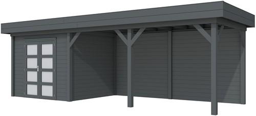 Blokhut Bonte Specht met luifel 500, afm. 787 x 253 cm, plat dak, houtdikte 28 mm - volledig antraciet gespoten