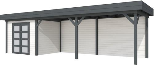 Blokhut Bonte Specht met luifel 600, afm. 887 x 253 cm, plat dak, houtdikte 28 mm. - basis en deur antraciet, wand wit gespoten