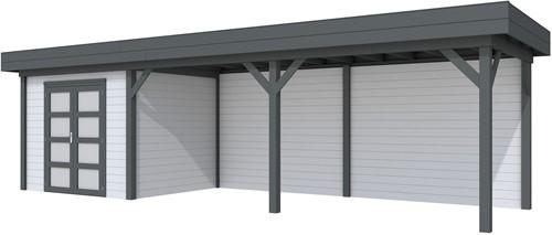 Blokhut Bonte Specht met luifel 600, afm. 887 x 253 cm, plat dak, houtdikte 28 mm. - basis en deur antraciet, wand grijs gespoten