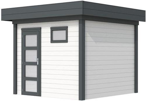 Blokhut Bonte Kraai, afm. 303 x 253 cm, plat dak, houtdikte 28 mm. - basis en deur antraciet, wand wit gespoten