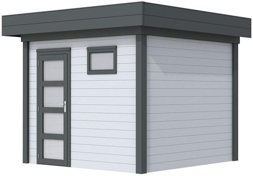 Blokhut Bonte Kraai, afm. 300 x 250 cm, plat dak, houtdikte 28 mm. - basis en deur antraciet, wand grijs gespoten
