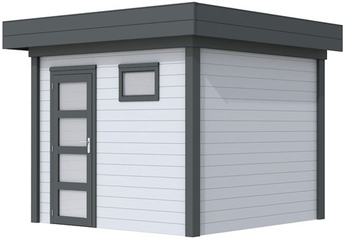 Blokhut Bonte Kraai, afm. 303 x 253 cm, plat dak, houtdikte 28 mm. - basis en deur antraciet, wand grijs gespoten