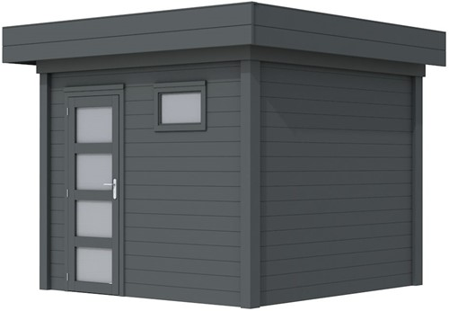 Blokhut Bonte Kraai, afm. 300 x 250 cm, plat dak, houtdikte 28 mm. - volledig antraciet gespoten