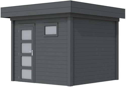 Blokhut Bonte Kraai, afm. 303 x 253 cm, plat dak, houtdikte 28 mm. - volledig antraciet gespoten