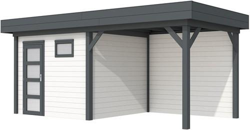 Blokhut Bonte Kraai met luifel 400, afm. 689 x 253 cm, plat dak, houtdikte 28 mm. - basis en deur antraciet, wand wit gespoten