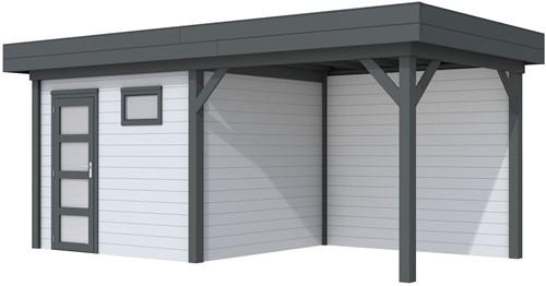 Blokhut Bonte Kraai met luifel 300, afm. 596 x 253 cm, plat dak, houtdikte 28 mm. - basis en deur antraciet, wand grijs gespoten