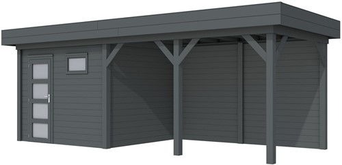 Blokhut Bonte Kraai met luifel 400, afm. 689 x 253 cm, plat dak, houtdikte 28 mm. - volledig antraciet gespoten