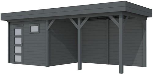 Blokhut Bonte Kraai met luifel 400, afm. 700 x 250 cm, plat dak, houtdikte 28 mm. - volledig antraciet gespoten