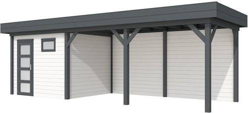 Blokhut Bonte Kraai met luifel 500, afm. 787 x 253 cm, plat dak, houtdikte 28 mm. - basis en deur antraciet, wand wit gespoten