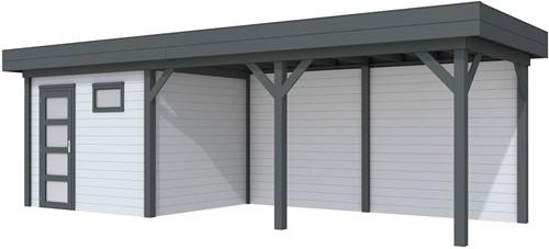 Blokhut Bonte Kraai met luifel 500, afm. 787 x 253 cm, plat dak, houtdikte 28 mm. - basis en deur antraciet, wand grijs gespoten
