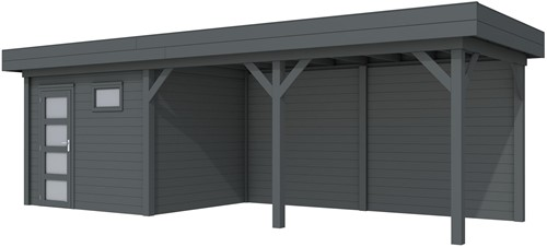 Blokhut Bonte Kraai met luifel 500, afm. 787 x 253 cm, plat dak, houtdikte 28 mm. - volledig antraciet gespoten