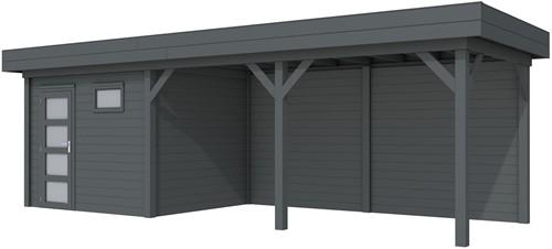 Blokhut Bonte Kraai met luifel 500, afm. 800 x 250 cm, plat dak, houtdikte 28 mm. - volledig antraciet gespoten