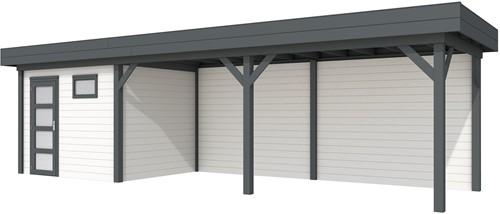Blokhut Bonte Kraai met luifel 600, afm. 887 x 253 cm, plat dak, houtdikte 28 mm. - basis en deur antraciet, wand wit gespoten