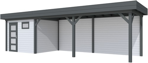 Blokhut Bonte Kraai met luifel 600, afm. 887 x 253 cm, plat dak, houtdikte 28 mm. - basis en deur antraciet, wand grijs gespoten